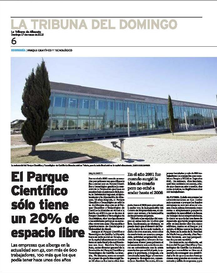 EL PASADO DOMINGO 17 DE MARZO LA TRIBUNA DE ALBACETE PUBLICÓ UN MONOGRÁFICO SOBRE EL PCTCLM