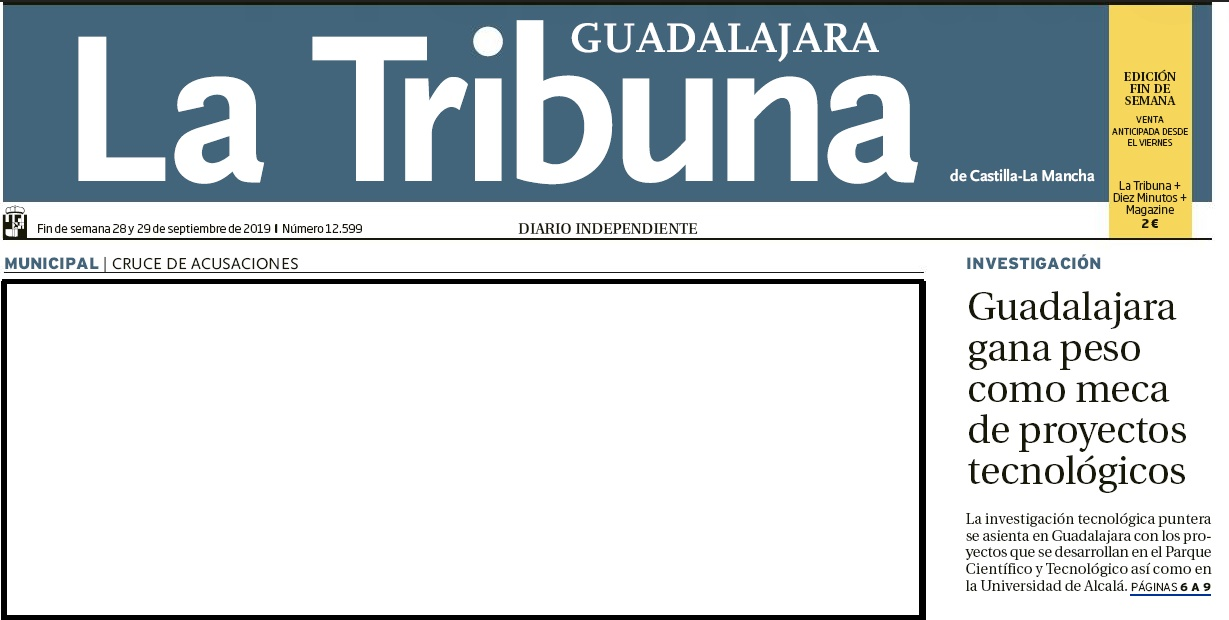 HOY NUESTRO PCTCLM EN PORTADA DE LA TRIBUNA GUADALAJARA